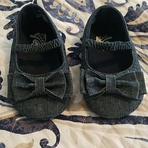 Other - Denim bow 6-12month soft bottom shoes